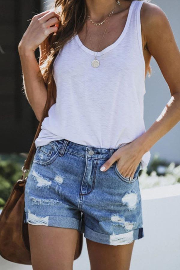 Regular Waist Blue Baggy Hole Denim Shorts