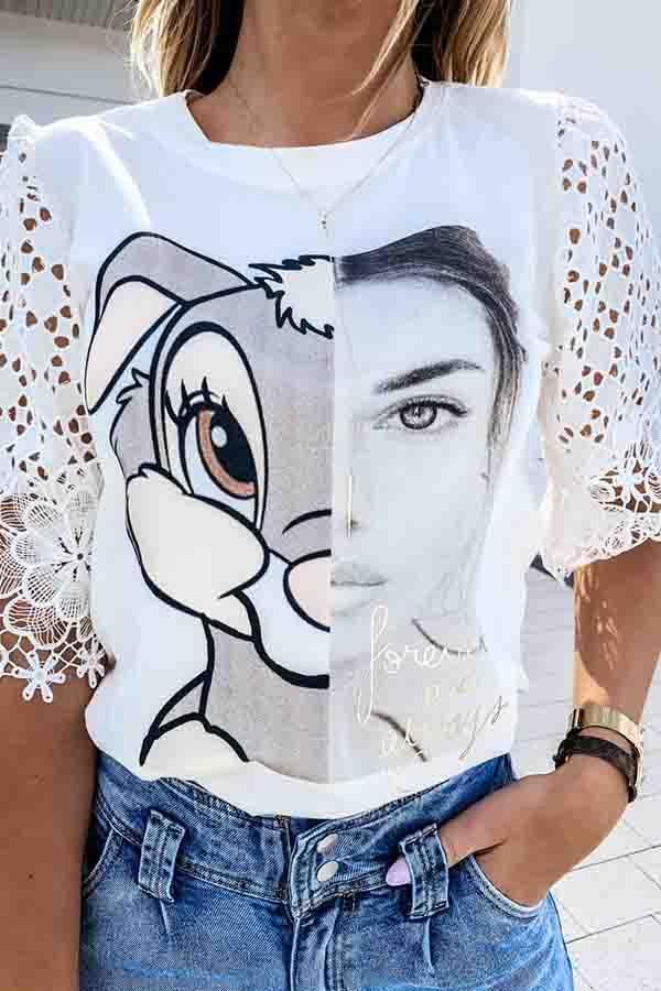 Cartoon Print Round Neck Casual Wear T-Shirt