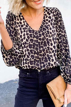 Long Sleeve Leopard Print V Neck Casual Wear Blouse