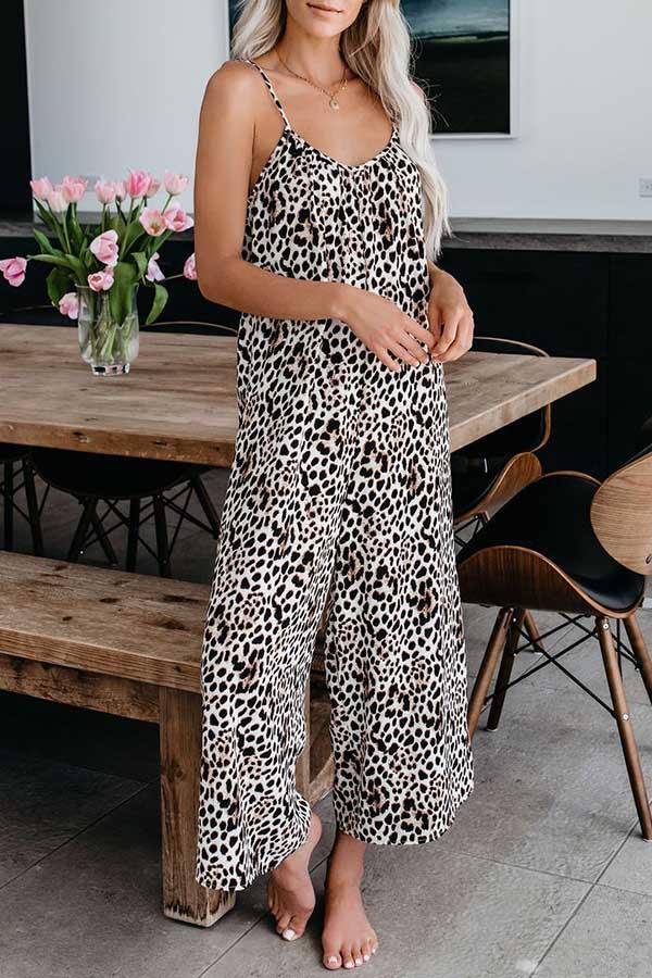 Sleeveless Leopard Print Spaghetti Strap Casual Wear Jumpsuit