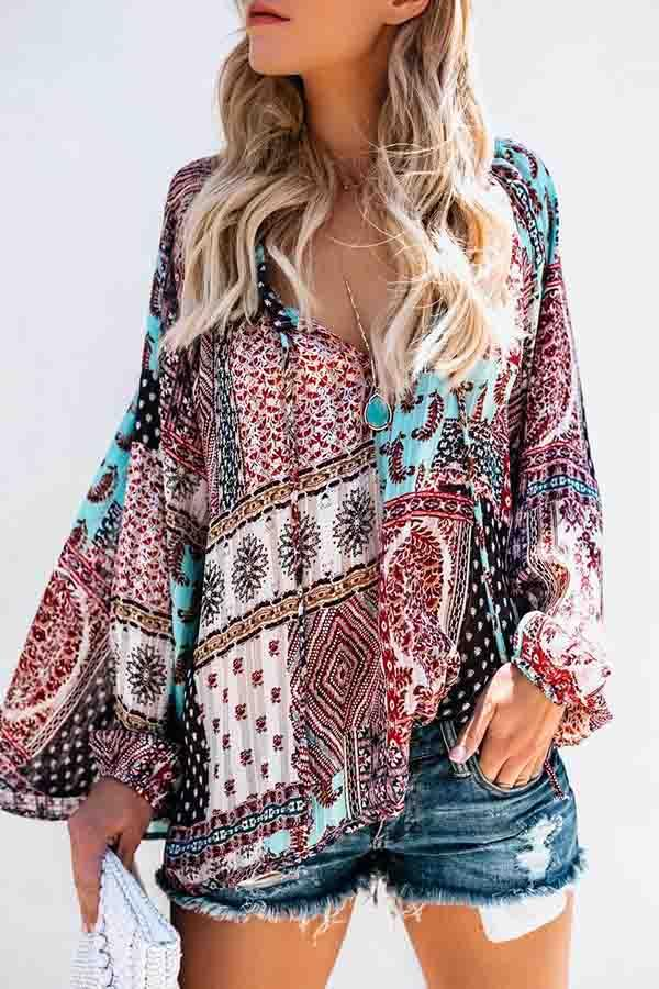 Long Sleeve Natural Print V Neck Casual Wear Blouse
