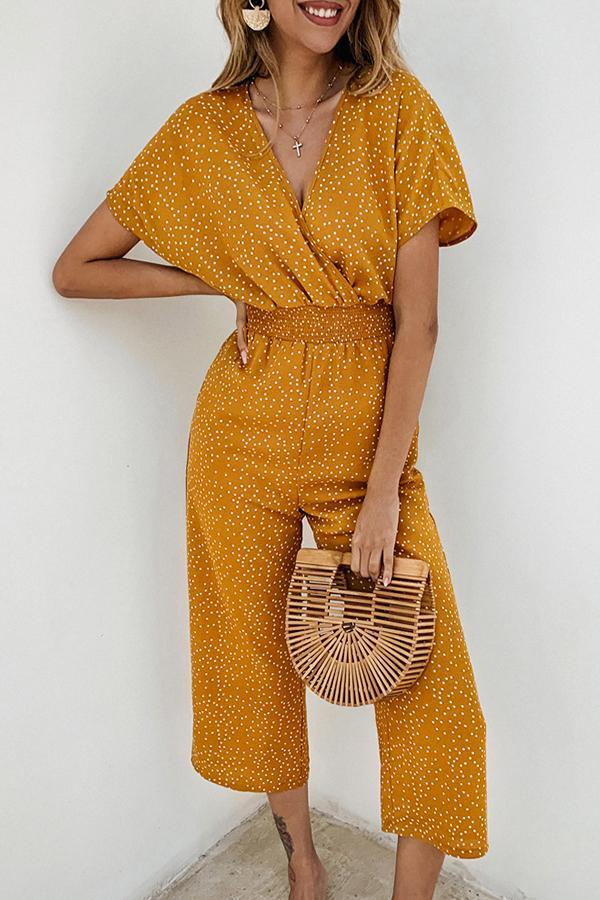 Short Sleeve Polka Dot V Neck Jumpsuit