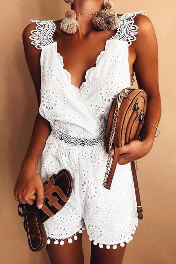 Solid Color V Neck Lace Romper