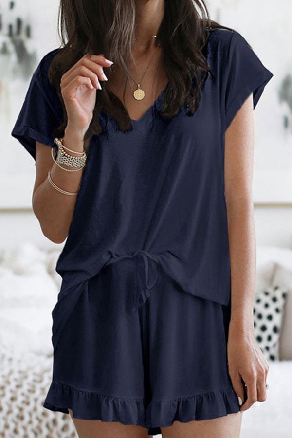 Short Sleeve Solid Color V Neck Casual Set
