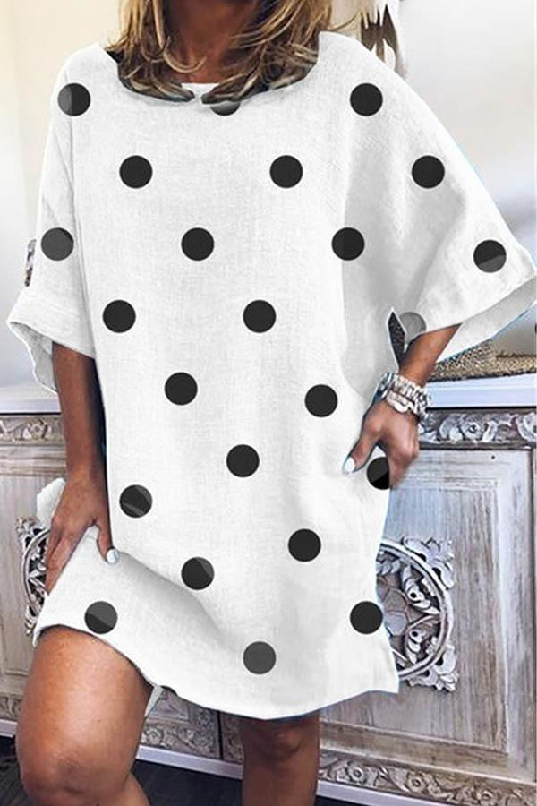 Polka Dot V Neck Casual Wear Dress