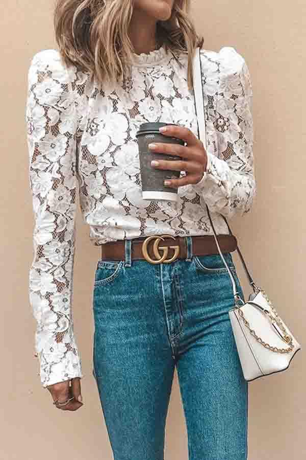Long Sleeve Solid Color Round Collar Lace Blouse
