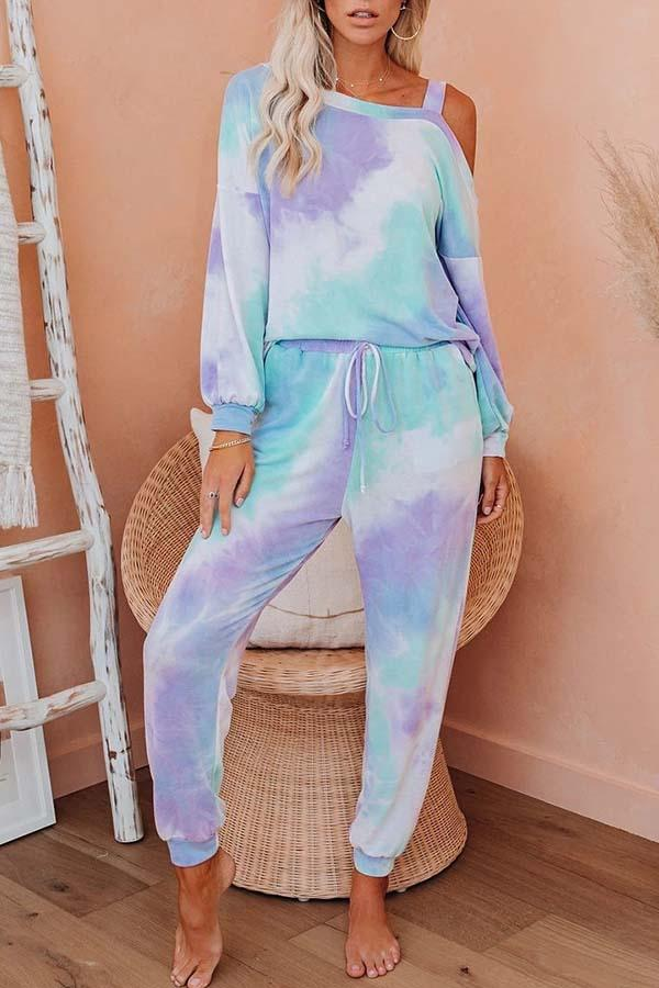 Tie Dye Off Shoulder Casual Wear Pant Set