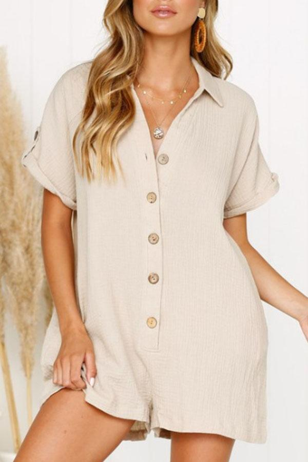 Solid Color Turtle Neck Single Breasted Romper