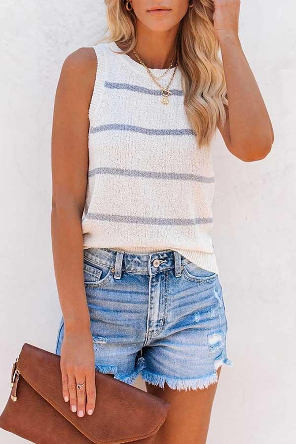 Striped Round Neck Casual Wear Vest