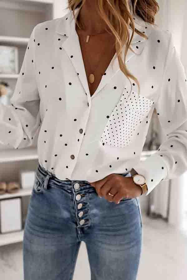 Long Sleeve Polka Dot Lapel Casual Wear Blouse