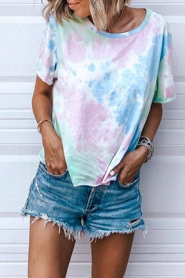 Short Sleeve Tie Dye Round Collar T-Shirt