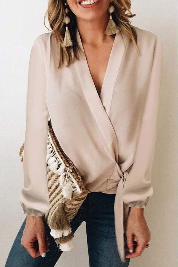 Bracelet Sleeve Solid Color V Neck Casual Wear Blouse