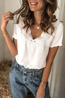 Short Sleeve Solid Color V Neck Lacy T-Shirt