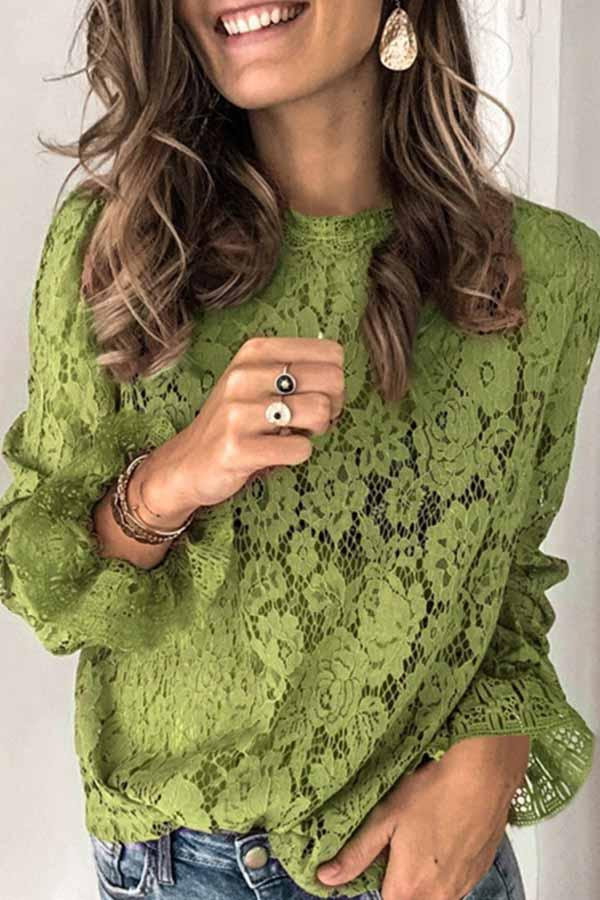 Puff Sleeve Solid Color Round Collar Lace Blouse
