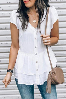 Short Sleeve Solid Color V Neck Leisurewear Shirt