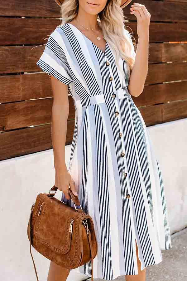 Short Sleeve Striped V Neck  Dress