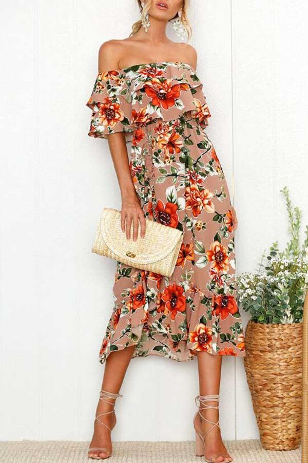 Floral Print Off Shoulder Leisurewear Dress