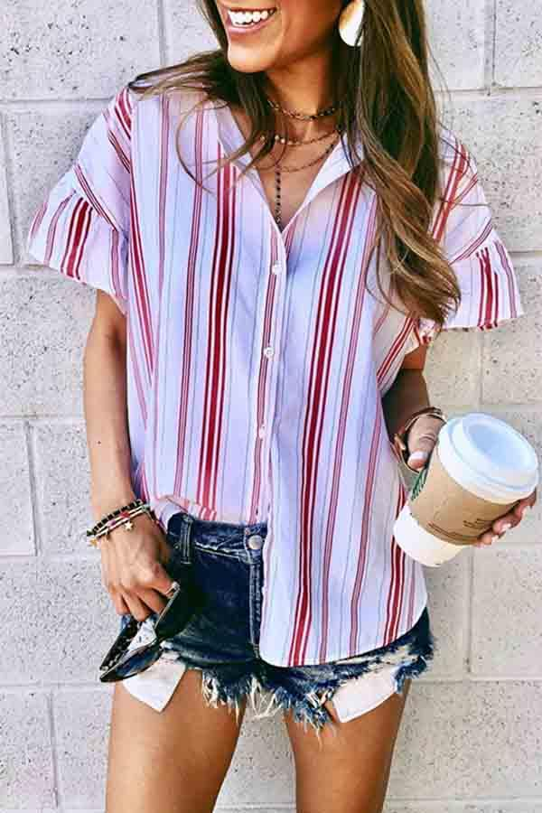 Short Sleeve Striped Turtle Neck Single Breasted Casual Blouse