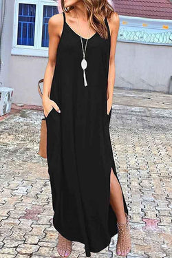 Sleeveless Solid Color Spaghetti Strap Leisurewear Dress