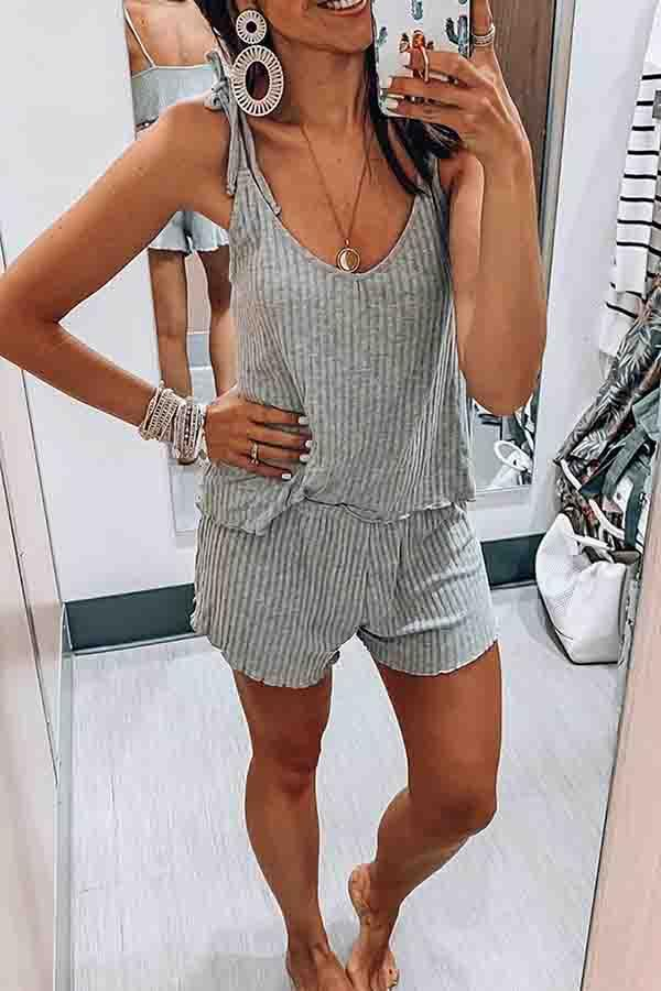 Solid Color Spaghetti Strap Casual Wear Short Set