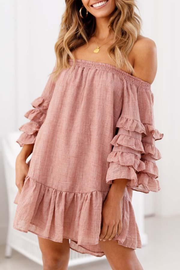Solid Color Off Shoulder Casual Wear Dress