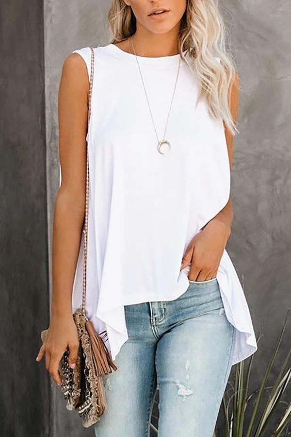 Sleeveless Solid Color Round Neck Casual Wear Vest