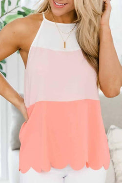Sleeveless Color Block Round Collar Casual Wear Vest