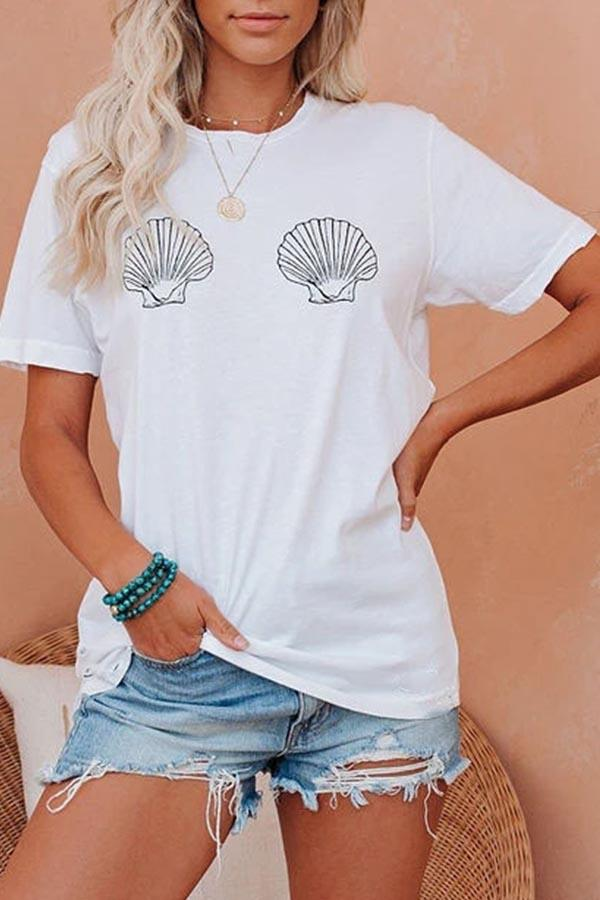 Graphic Print Round Neck Casual Wear T-Shirt
