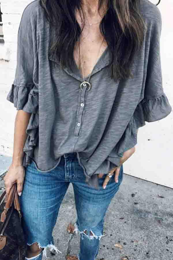 Gray V Neck Casual Wear T-Shirt