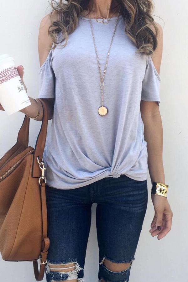 Puff Sleeve Solid Color Round Collar Casual Wear T-Shirt