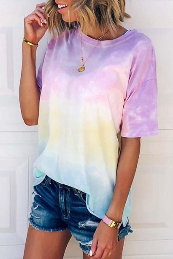 Short Sleeve Rainbow Round Collar Casual Wear T-Shirt