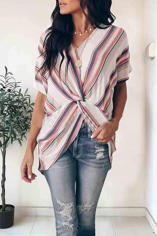 Sleeveless Striped V Neck Irregular Blouse