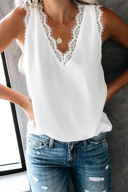 Sleeveless Solid Color V Neck Casual Wear Top