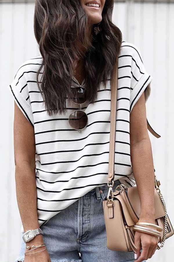 Striped Round Neck Casual Wear T-Shirt