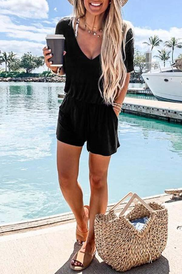 V Neck Black Casual One-piece Romper