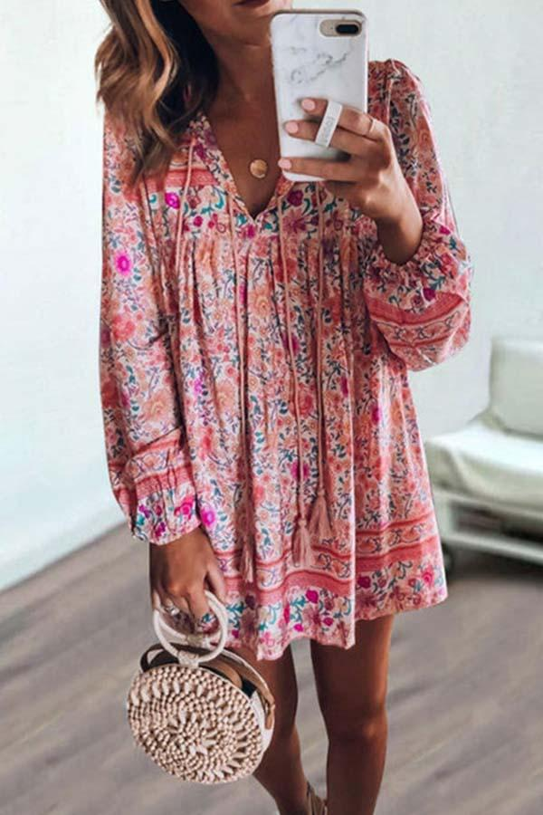 Long Sleeve Floral Print V Neck Casual Wear Dress