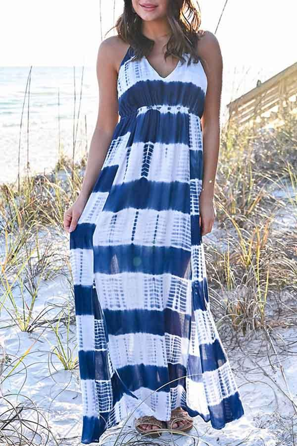 Sleeveless Striped Spaghetti Strap Leisurewear Dress