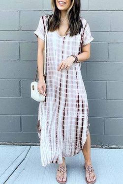 Short Sleeve Houndstooth V Neck Leisurewear Dress