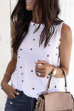 Sleeveless Star Round Collar Casual Wear T-Shirt