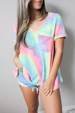 Short Sleeve Tie Dye V Neck Leisurewear T-Shirt