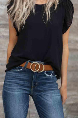 Round Solid Color Double Ring Belt(Only Belt)