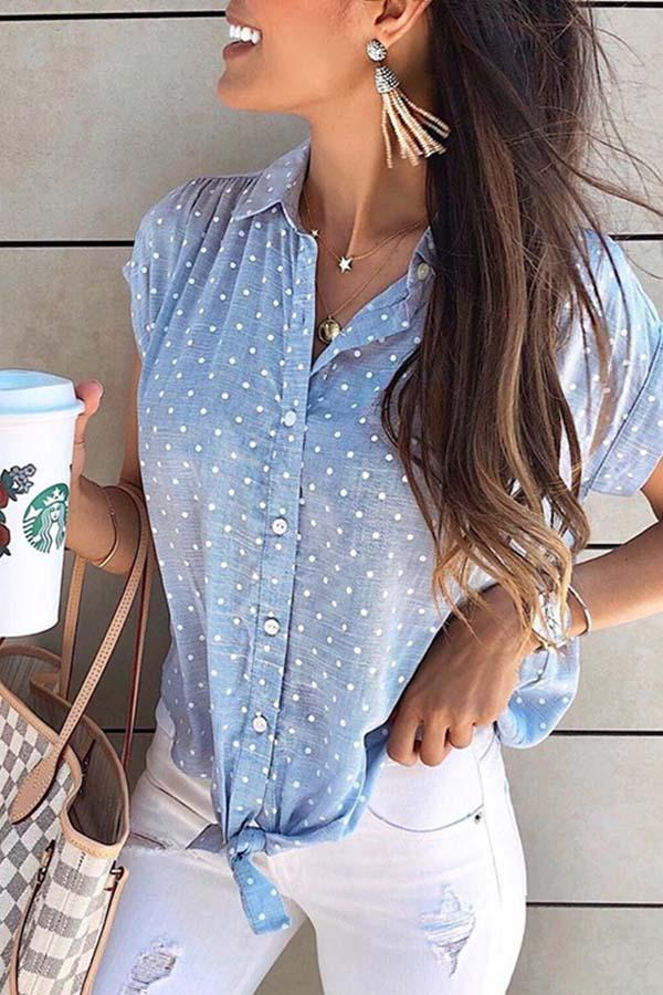 Short Sleeve Polka Dot Turtle Neck Leisurewear Shirt