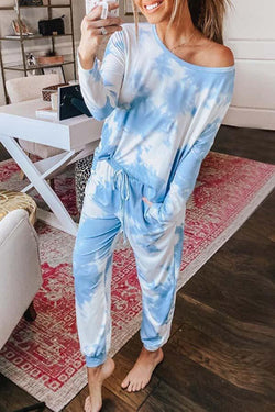 Long Sleeve Tie Dye Round Collar Casual Wear Set
