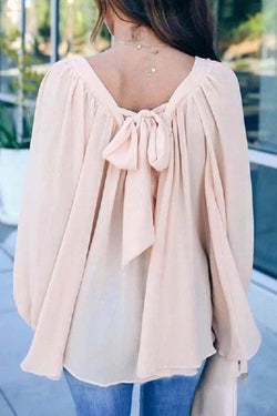 Long Sleeve Solid Color V Neck Lace Up Casual Wear Blouse