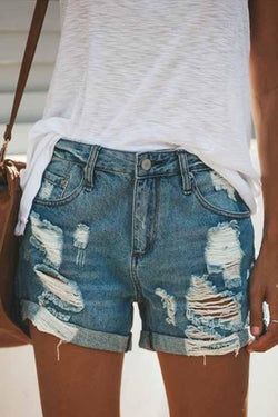 Regular Waist Solid Color Regular Fit Hole Denim Shorts