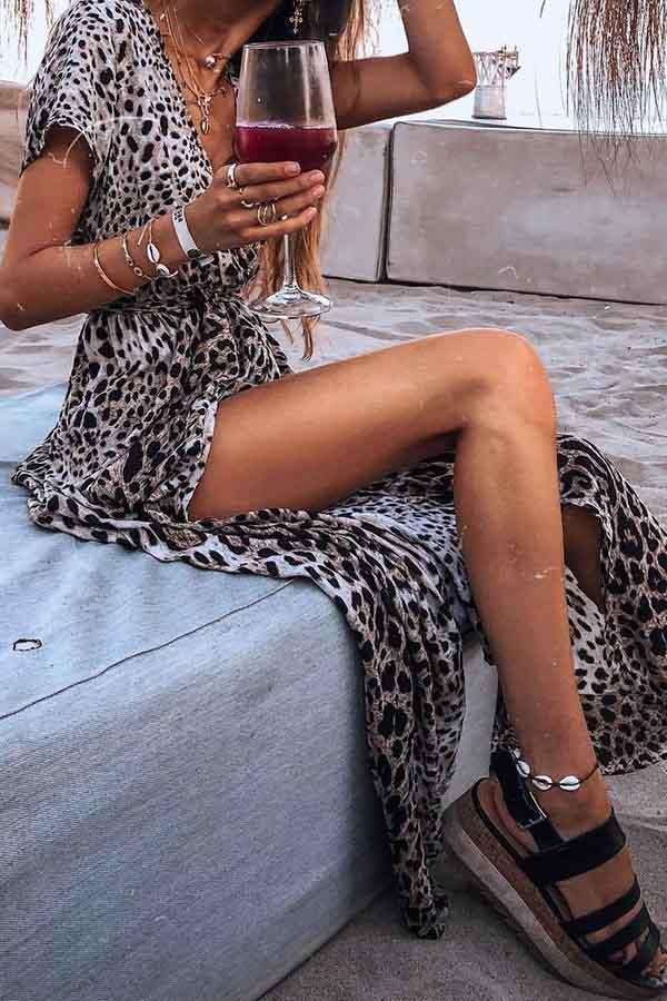 Leopard Print V Neck Casual Wear Dress