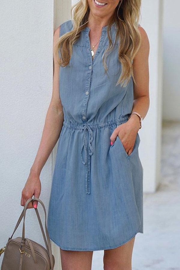 Sleeveless Blue Mandarin Collar Casual Wear Dress