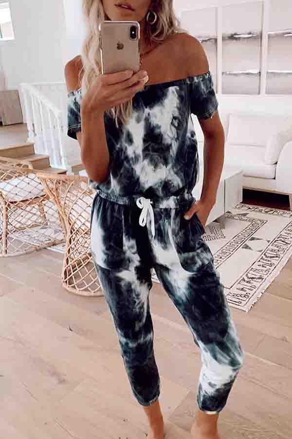 Tie Dye Off Shoulder Casual Wear Jumpsuit