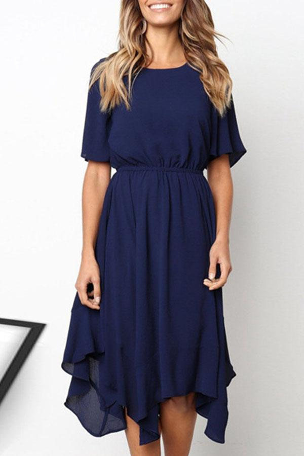 Solid Color Round Neck Casual Wear Dress