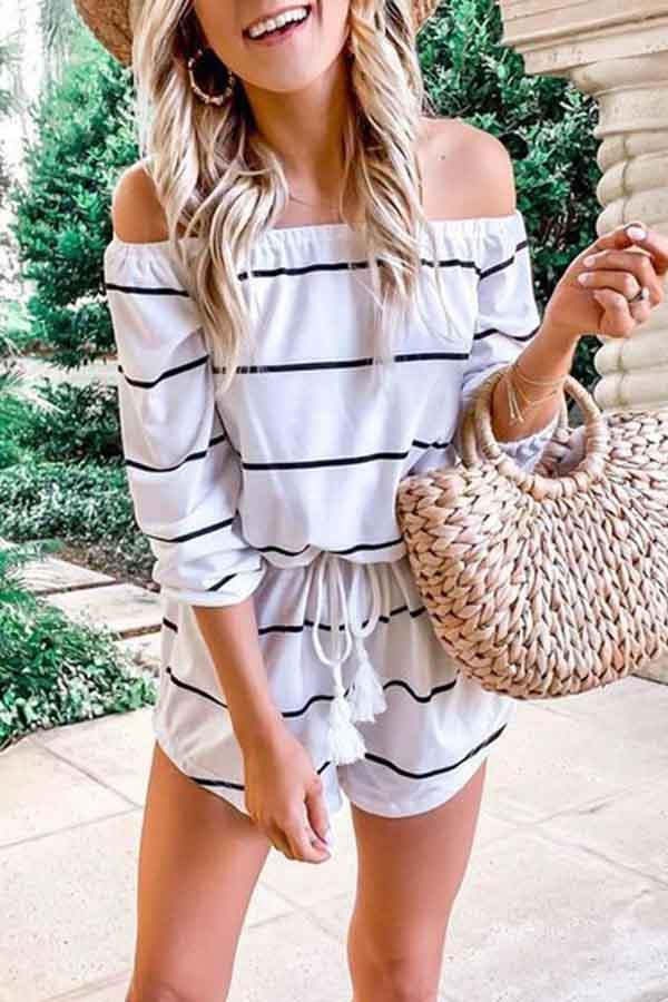 Long Sleeve Striped Off Shoulder Casual Wear Romper